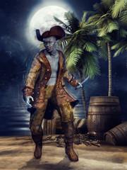 Pirat zombie na plaży z beczkami i czaszkami nocą