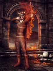 Baśniowy myśliwy z płonącym łukiem na tle ruin zamku