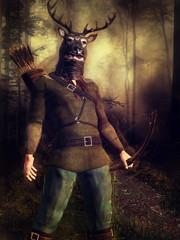 Myśliwy w czapce w kształcie głowy jelenia w lesie