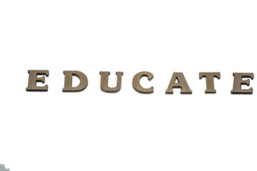 Word educate made of wood