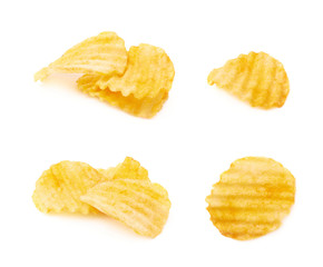 Yellow ribbed potato chips