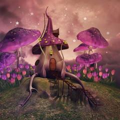 Różowe grzyby i baśniowa chatka na łące
