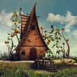 Kolorowa chatka z wysokimi grzybami na zaczarowanej łące