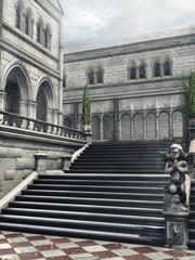Dziedziniec pałacowy z kamiennymi schodami i rzeźbami