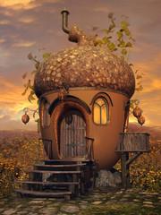 Baśniowa chatka z żołędzia na kwitnącej łące