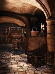 Wnętrze piwnicy na wino oświetlone pochodniami