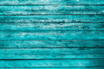 painted old wooden wall. cyan background