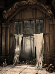 Drzwi w opuszczonym domu z czaszkami i potarganymi zasłonami