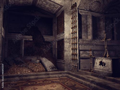 Ruiny kaplicy z krzyżami i dekoracjami z kości
