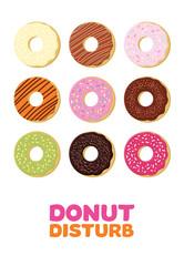 Multicolored donuts vector illustration