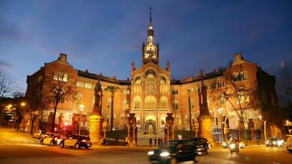 Hospital de Sant Pau in evening. Barcelona, Catalonia