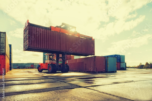 canvas print picture Loading and unloading of containers in the port