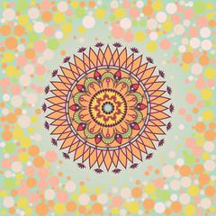 Mandala on the background bokeh round.