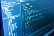 """Постер, картина, фотообои """"Programming code on a monitor."""""""