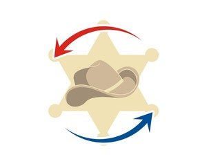 cowboy hat west sheriff logo icon vector