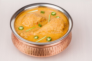 Indian Chicken Curry in Authentic Copper Bowl
