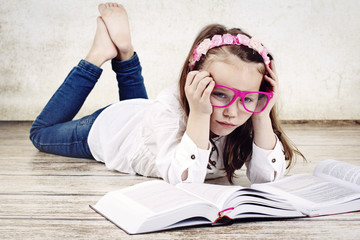 Bored little schoolgirl