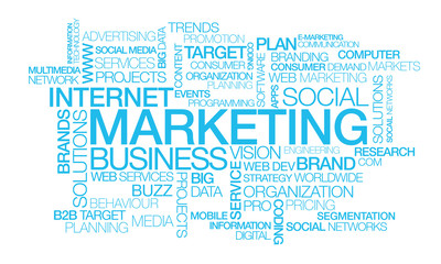 Marketing social media network blue text words tag cloud