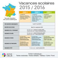 Vacances scolaires 2015-2016 - Nouvelles zones 2015