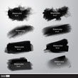 Vector set black watercolor paint brushes. Artistic strokes. - 80895898