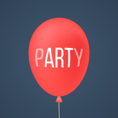 red ballon with white lettering party