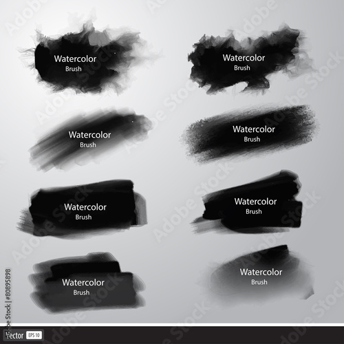 Vector set black watercolor paint brushes. Artistic strokes.