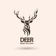 Creative art icon stylized deer. Silhouette wild animal.  - 80896001