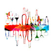 Colorful design with bottles and glasses - 80896091