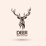 Creative art icon stylized deer. Silhouette wild animal.  mouse pad