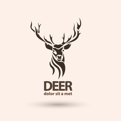 Creative art icon stylized deer. Silhouette wild animal.