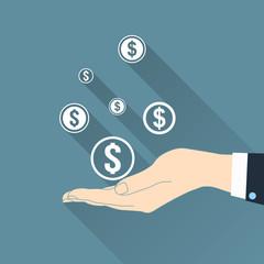 Dollar symbols in hand