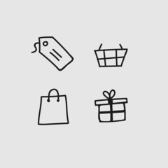 Doodle icon set: Shoping