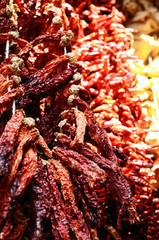 Dried paprika at spicy bazaar in Istanbul