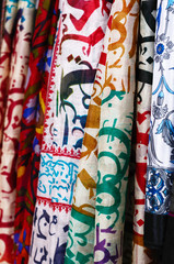 Silk shawls hanging at the market in Istanbul
