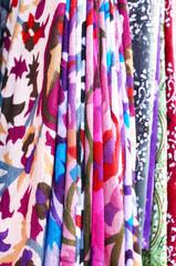 Set of pattern scarfs hanging at oriental bazaar