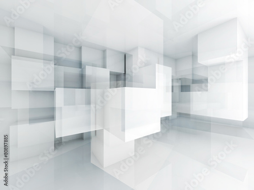 Fototapeta Abstract 3d architecture background with chaotic cubes