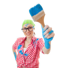 House painter, Worker woman with paint roller and brush