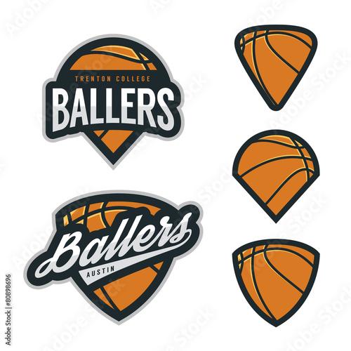 Set of basketball team emblem backgrounds - 80898696