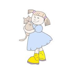 Girl hugging cat.