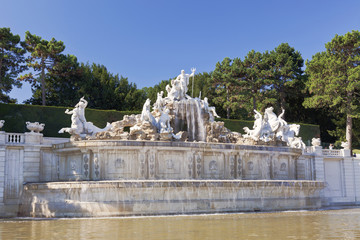 Neptune Fountain in Schonbrunn Palace in Vienna.