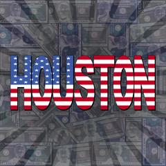 Houston flag text on dollars sunburst illustration