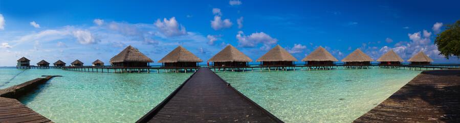 Panoramic view on Maldives bungalow