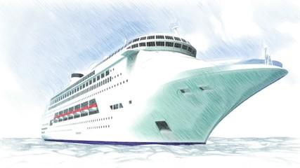 Statek jacht 3d animacja transport