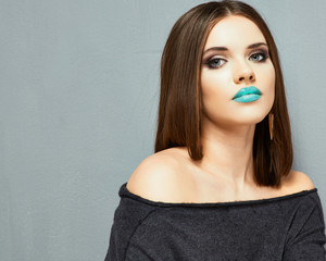 Make up. Model beauty portrait. Beautiful lips.