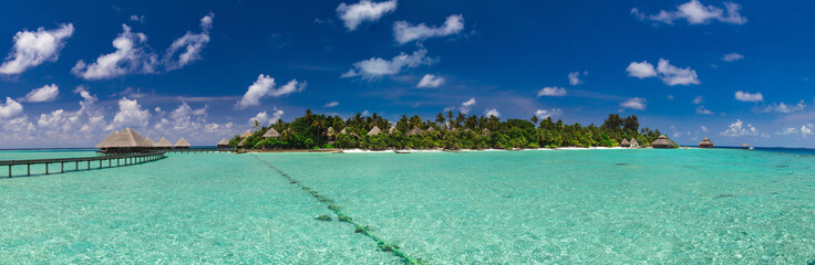 Panoramic view of the path to the island over the water © fazeful