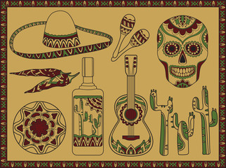 Vector set traditional mexican simbols
