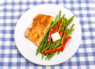Baked Salmon with Asparagus and Red Peppers with Butter