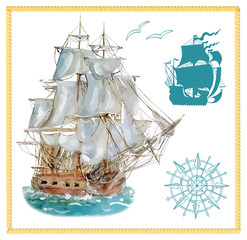 Sea set with sailing ship and silhouettes