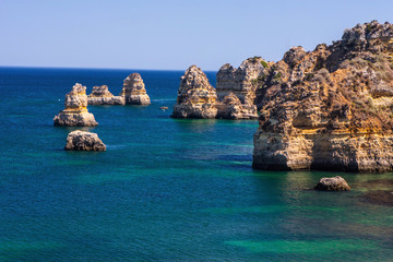 beautiful rock formations in the sea,  Algarve, Portugal