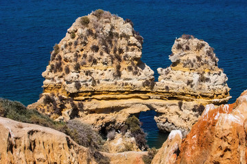 rock formations in the sea, the province of Algarve, Portugal